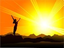 Nascer do sol de Goodmorning ilustração royalty free