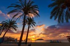 Nascer do sol de Mallorca na praia de Magaluf Palmanova Imagem de Stock Royalty Free