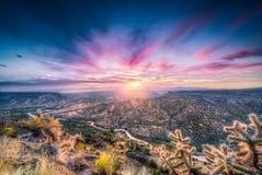 Nascer do sol de New mexico sobre Rio Grande River Fotografia de Stock