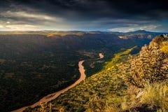Nascer do sol de New mexico sobre Rio Grande River Fotografia de Stock Royalty Free