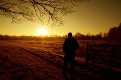 Nascer do sol de passeio do homem Imagens de Stock Royalty Free