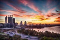 Nascer do sol de Perth no parque dos reis imagem de stock