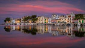 Nascer do sol de Porto Colom mallorca spain imagem de stock royalty free