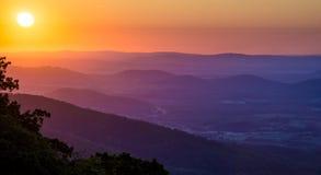 Nascer do sol de Shenandoah imagens de stock