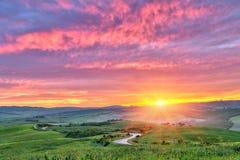Nascer do sol de Toscânia Foto de Stock