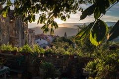 Nascer do sol dentro de um jardim em Motovun na Croácia foto de stock