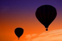 Nascer do sol do balão de ar quente Imagem de Stock