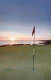 Nascer do sol do golfe - fortifique o curso, St Andrews fotografia de stock
