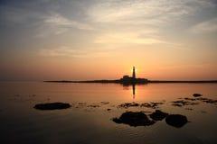 Nascer do sol do mar calmo Fotos de Stock