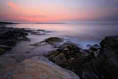 Nascer do sol do ponto de Beavertail Fotografia de Stock