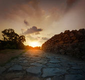 Nascer do sol do por do sol em Qutub Minar Nova Deli Inida Fotos de Stock Royalty Free