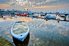 Nascer do sol do porto Fotografia de Stock