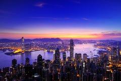 Nascer do sol do porto de Victoria, Hong Kong Imagens de Stock