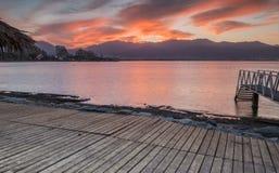 Nascer do sol dramático no Mar Vermelho, Eilat Fotografia de Stock
