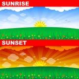 Nascer do sol e por do sol Foto de Stock Royalty Free