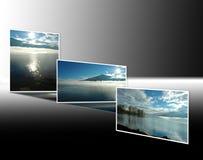 Nascer do sol e por do sol no lago Maggiore Imagem de Stock