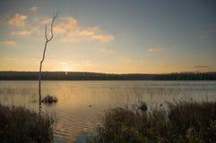 Nascer do sol e silhuetas no lago otter Imagem de Stock Royalty Free