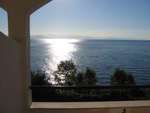 Nascer do sol em Corfu imagens de stock royalty free