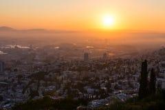 Nascer do sol em Haifa de Louis Promenade fotos de stock royalty free