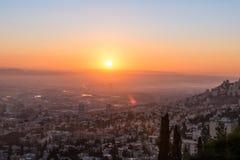 Nascer do sol em Haifa de Louis Promenade Fotografia de Stock