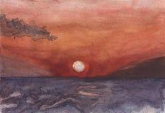 Nascer do sol em Hersonissos outro o mar ilustração royalty free