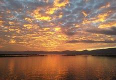 Nascer do sol em Inle, Myanma fotos de stock