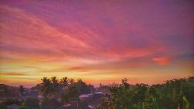 Nascer do sol em minha vila Imagem de Stock