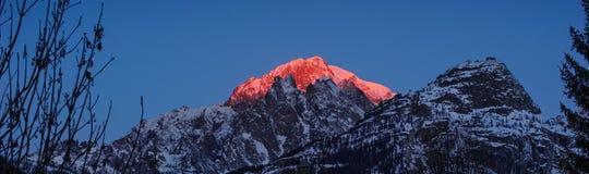 Nascer do sol em Mont Blanc Mountain Fotografia de Stock