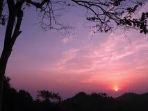 Nascer do sol em Nan, Tailândia foto de stock royalty free