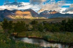 Nascer do sol em Patagônio Andes Fotografia de Stock