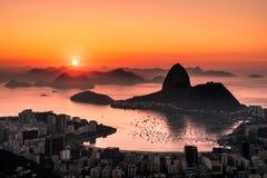 Nascer do sol em Rio de janeiro Fotos de Stock Royalty Free