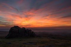 Nascer do sol em rochas de Haytor Fotos de Stock