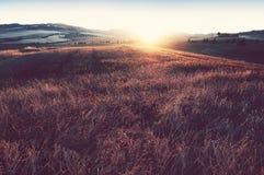 Nascer do sol em Toscânia, Italy fotografia de stock royalty free