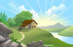 Nascer do sol em uma terra feericamente ilustração stock