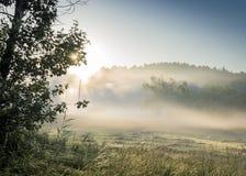 Nascer do sol enevoado da manhã no campo rustical Fotografia de Stock Royalty Free