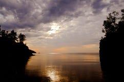 Nascer do sol, entrada do rio do baptismo fotografia de stock