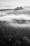 Nascer do sol fantástico na parte superior da montanha rochosa com vista no vale enevoado Rebecca 36 Fotografia de Stock