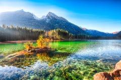 Nascer do sol fantástico do outono do lago Hintersee Cena bonita de t foto de stock