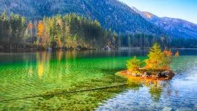 Nascer do sol fantástico do outono do lago Hintersee Cena bonita de t fotografia de stock