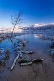 Nascer do sol frio no lago do inverno coberto com a neve Imagens de Stock