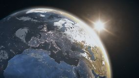 Nascer do sol impressionante sobre a terra do planeta ilustração stock