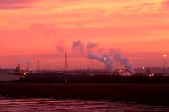 Nascer do sol industrial fotografia de stock
