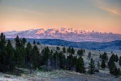 Nascer do sol louco das montanhas fotos de stock