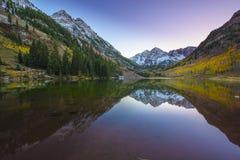 Nascer do sol marrom Aspen Colorado de Bels Fotografia de Stock