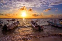Nascer do sol do Maya de Riviera em México das caraíbas fotografia de stock royalty free