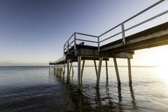 Nascer do sol do molhe de Torquay, Hervey Bay, QLD Fotos de Stock Royalty Free