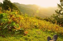 Nascer do sol, montanhas Fotos de Stock Royalty Free