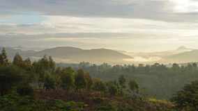Nascer do sol, montanhas de Konso, Etiópia, África Fotos de Stock Royalty Free