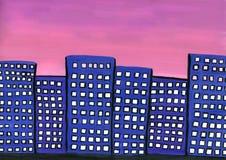 Nascer do sol na cidade ilustração stock
