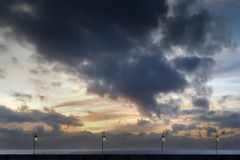 Nascer do sol na doca solitário Imagem de Stock